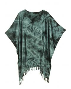 Grey HIPPIE Batik Tie Dye Tunic Blouse Kaftan Top Plus Size XL 1X 2X