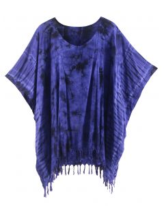Dark blue HIPPIE Batik Tie Dye Tunic Blouse Kaftan Top Plus Size XL 1X 2X