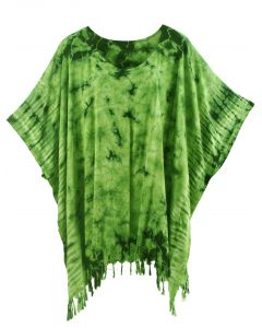 Green HIPPIE Batik Tie Dye Tunic Blouse Kaftan Top Plus Size XL 1X 2X