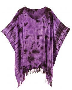Purple HIPPIE Batik Tie Dye Tunic Blouse Kaftan Top Plus Size XL 1X 2X