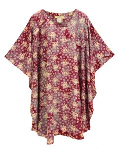 Red violet HIPPIE Batik CAFTAN KAFTAN Plus Size Tunic Blouse Kaftan Top 3X 4X