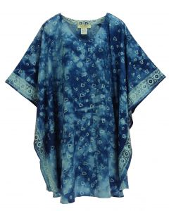 Blue HIPPIE Batik CAFTAN KAFTAN Plus Size Tunic Blouse Kaftan Top 3X 4X
