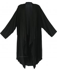 Black Long Sleeve Plus Size Cardigan Cover up Duster Jacket 1X 2X