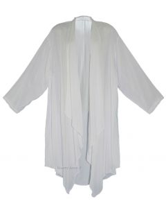 White Long Sleeve Plus Size Cardigan Cover up Duster Jacket 1X 2X