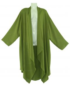 Avocado green Long Sleeve Plus Size Cardigan Cover up Duster Jacket 1X 2X