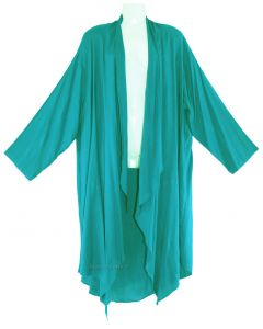 Turquoise Lagenlook Duster Plus Size Long Coverup Jacket 1X 2X