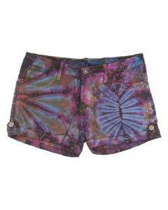 Tie Dye Mid Rise Denim Shorts