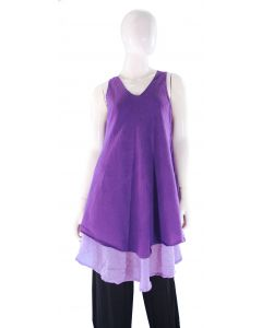 PURPLE Lagenlook Cotton Tunic Top S US