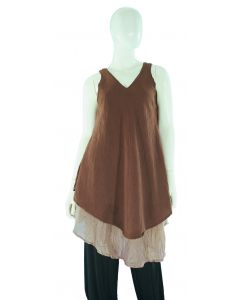 BROWN Lagenlook Cotton Tunic Top S US
