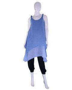 BLUE Lagenlook Cotton Tunic Top S US