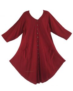 Maroon Long Sleeve Lagenlook Plus Size Vest Tunic Top 0X 1X