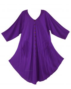 Purple Long Sleeve Lagenlook Plus Size Vest Tunic Top 0X 1X