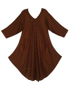 Brown Long Sleeve Lagenlook Plus Size Vest Tunic Top 0X 1X