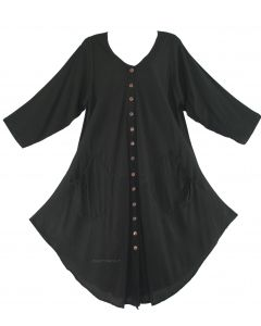 Black Long Sleeve Lagenlook Plus Size Vest Tunic Top 0X 1X