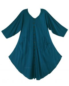 Teal blue Long Sleeve Lagenlook Plus Size Vest Tunic Top 0X 1X