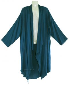 TEAL BLUE Lagenlook Duster Plus Size Long Coverup Jacket 1X 2X