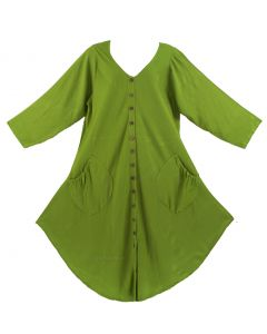 Avocado green Long Sleeve Lagenlook Plus Size Vest Tunic Top 0X 1X