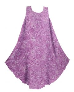 Purple Batik Caftan Tunic Tank Sleeveless Dress Cover Up Plus Sz XL