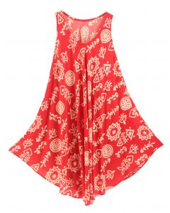 Red Tank Dress Cover Up Plus Sz 3X