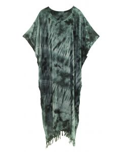 Grey Tie Dye Caftan Kaftan Loungewear Maxi Plus Size Long Dress XL to 4X