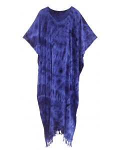 Dark blue Tie Dye Caftan Kaftan Maxi Long Dress 1X 2X 3X 4X