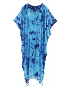 Blue Tie Dye Caftan Kaftan Loungewear Maxi Plus Size Long Dress XL to 4X