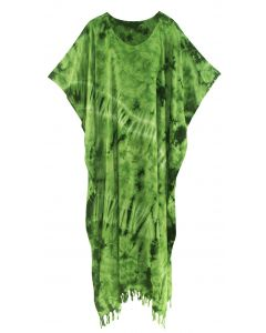 Green Tie Dye Caftan Kaftan Loungewear Maxi Plus Size Long Dress XL to 4X