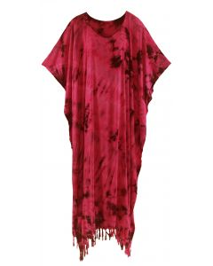 Red Tie Dye Caftan Kaftan Loungewear Maxi Plus Size Long Dress XL to 4X