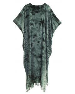 Grey Tie Dye Caftan Kaftan Maxi Long Dress 1X 2X 3X 4X