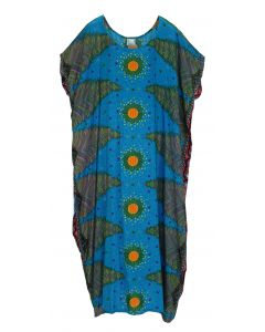 Blue Bohomein Flora Plus Size Kaftan Kimono Loungewear Maxi Long Dress XL 1X 2X