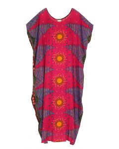 Fuchsia Bohomein Flora Plus Size Kaftan Kimono Loungewear Maxi Long Dress XL 1X 2X