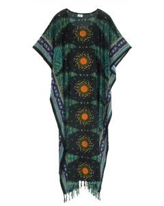 Black Flora Plus Size Kaftan Kimono Loungewear Maxi Long Dress 3X 4X