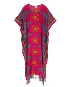 Fuchsia Flora Plus Size Kaftan Kimono Loungewear Maxi Long Dress 3X 4X