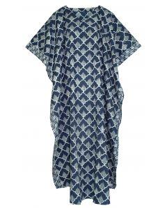 Dark blue Hand Blocked Batik Hippie Caftan Kaftan Loungewear Maxi Plus Size Long Dress 3X 4X