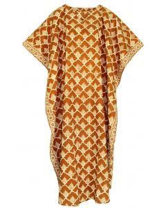 Brown Hand Blocked Batik Hippie Caftan Kaftan Loungewear Maxi Plus Size Long Dress 3X 4X