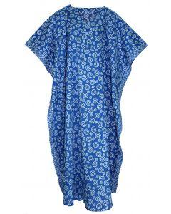 Blue Hand Blocked Batik Hippie Caftan Kaftan Loungewear Maxi Plus Size Long Dress 3X 4X