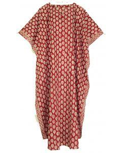 Burgundy red Hand Blocked Batik Hippie Caftan Kaftan Loungewear Maxi Plus Size Long Dress XL to 4X