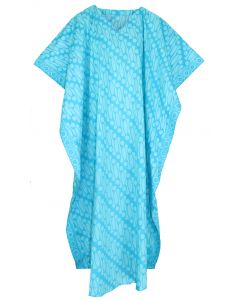 Turquoise Hand Blocked Batik Hippie Caftan Kaftan Loungewear Maxi Plus Size Long Dress 3X 4X