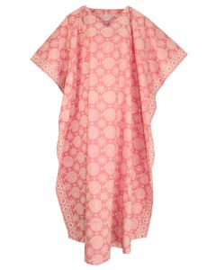 Pink Hand Blocked Batik Hippie Caftan Kaftan Loungewear Maxi Plus Size Long Dress XL to 4X
