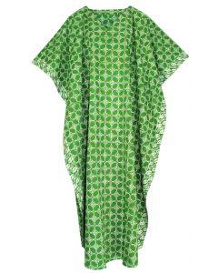 Green Hand Blocked Batik Hippie Caftan Kaftan Loungewear Maxi Plus Size Long Dress 3X 4X