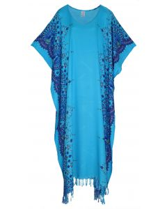 Blue Flora Plus Size Kaftan Kimono Loungewear Maxi Long Dress 3X 4X