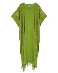 Olive Flora Plus Size Kaftan Kimono Loungewear Maxi Long Dress 3X 4X