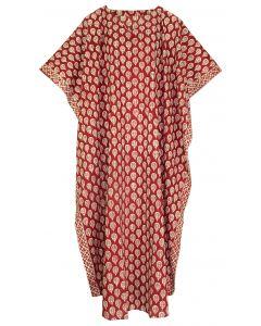 Burgundy red Hand Blocked Batik Hippie Caftan Kaftan Loungewear Maxi Plus Size Long Dress 3X 4X