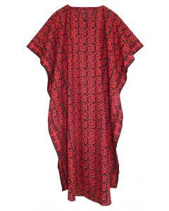 Black Hand Blocked Batik Hippie Caftan Kaftan Loungewear Maxi Plus Size Long Dress 3X 4X