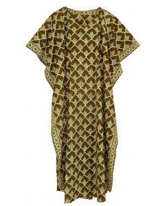 Brown Hand Blocked Batik Hippie Caftan Kaftan Loungewear Maxi Plus Size Long Dress XL to 4X