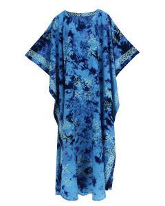 Dark blue Hand Blocked Batik Rayon Caftan Kaftan Loungewear Maxi Plus Size Long Dress 3X 4X