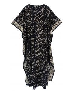 Black Hand Blocked Batik Rayon Caftan Kaftan Loungewear Maxi Plus Size Long Dress 3X 4X