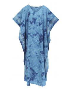 Blue Hand Blocked Batik Rayon Caftan Kaftan Loungewear Maxi Plus Size Long Dress 3X 4X