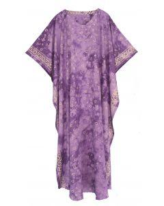 Purple Hand Blocked Batik Rayon Caftan Kaftan Loungewear Maxi Plus Size Long Dress 3X 4X