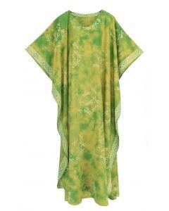 Green Hand Blocked Batik Rayon Caftan Kaftan Loungewear Maxi Plus Size Long Dress 3X 4X